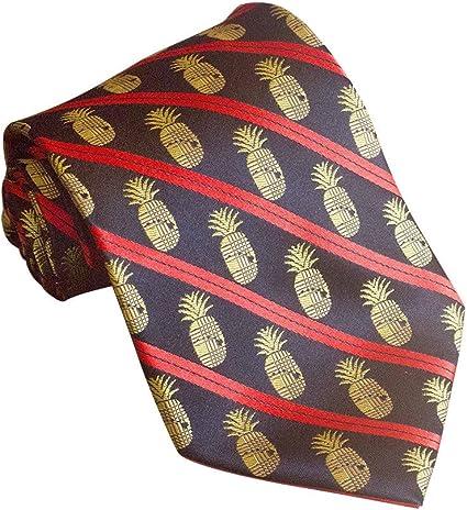 Pineapple Palaka Mens Neckties Pocket Square White Logo Silk