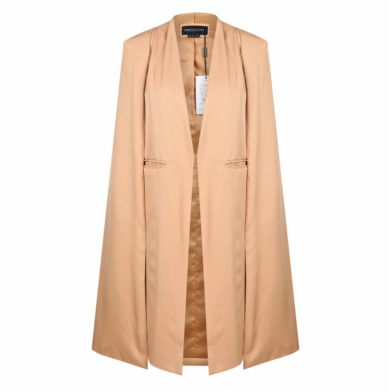 843f5fa93e5 Vero Viva Women Open Front Casual Cape Blazer Trench Duster Coat Longline  Ponche  Amazon.co.uk  Clothing