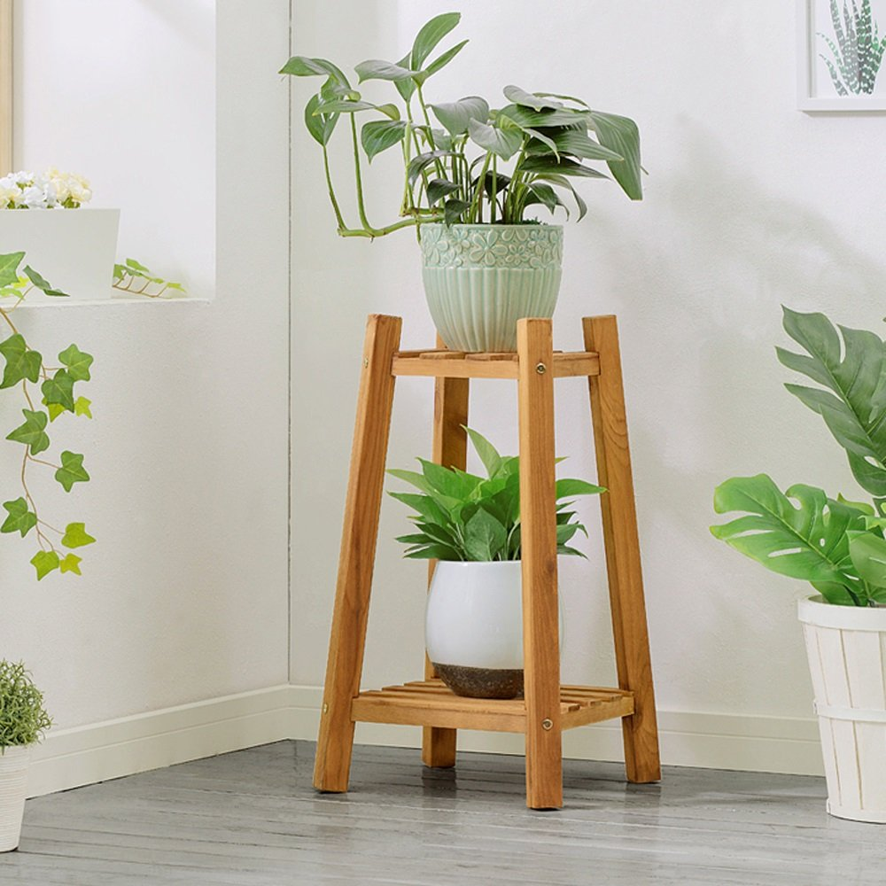 BDS Living Room Wooden Flower Shelf Indoor Flower Stand Multilayer Solid Wood Balcony Floor Flower Pot Shelf Multifunctional Wooden Rack (Color : Light brown, Size : 60cm)