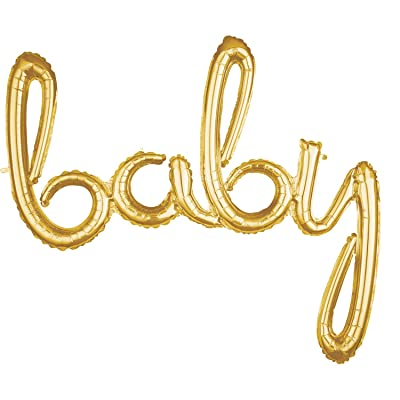 "Anagram 39"" Baby Gold Script Phrase Foil Balloon: Toys & Games"