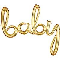 "Anagram G40 ""Baby"" Script Phrase Foil Balloon, Gold"