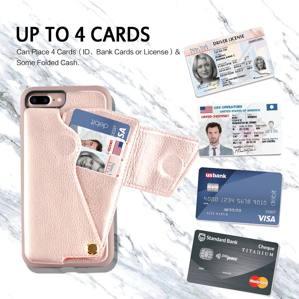 iPhone 8 Plus Wallet Case, ZVEdeng iPhone 7 Plus Card Holder Case, Protective Shockproof Leather Wallet Case with Card Holder for Apple iPhone 8 Plus (2017)/iPhone 7 Plus (2016) - Rose Gold … by ZVEdeng (Image #4)