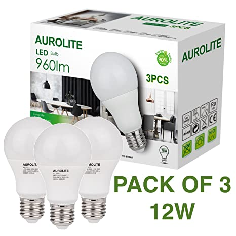 PAQUETE DE 3 12W AUROLITE Bombillas LED, A60 12W E27 Luz de día 6500K,