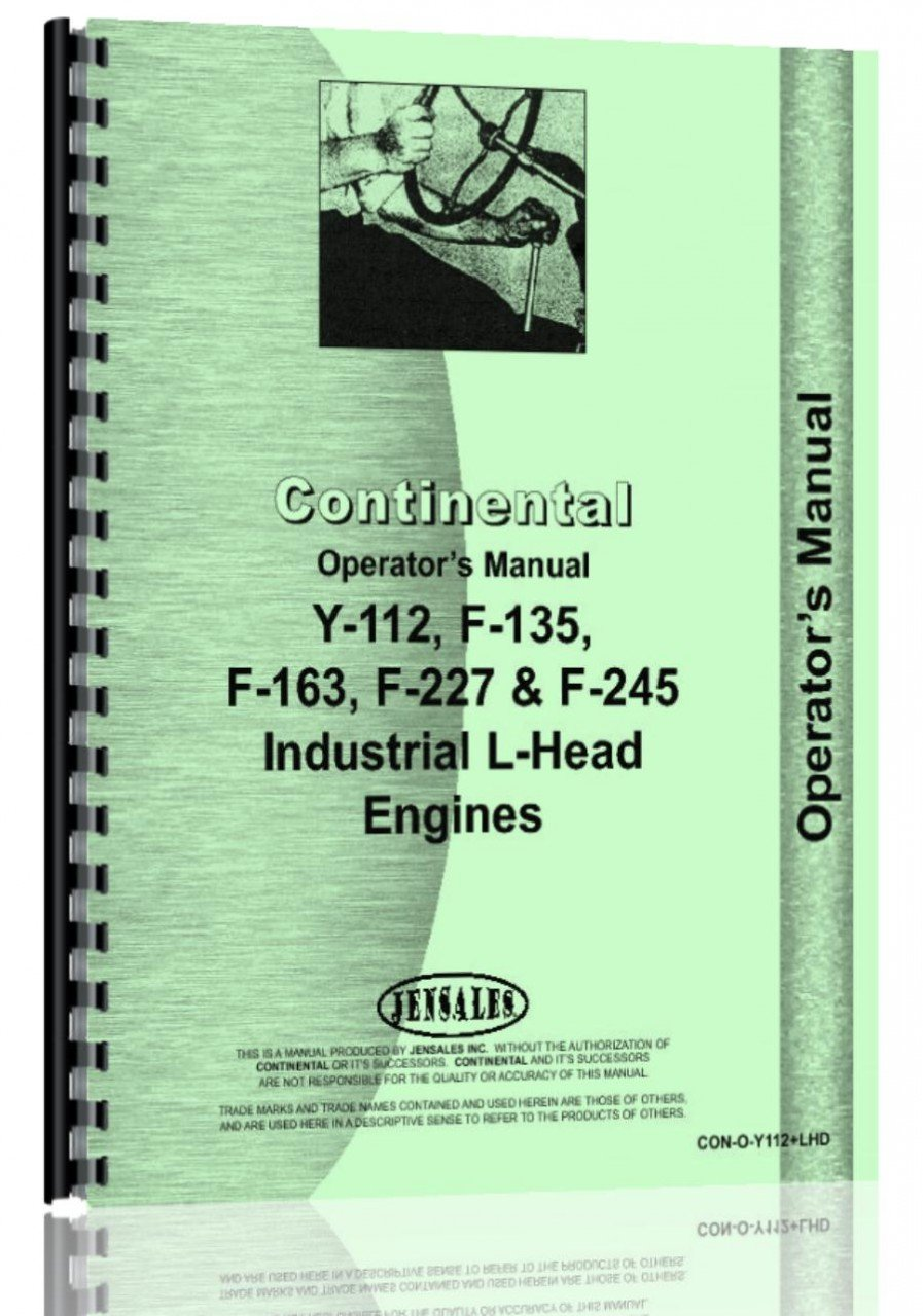 Continental Engines F163 Engine Operators Manual