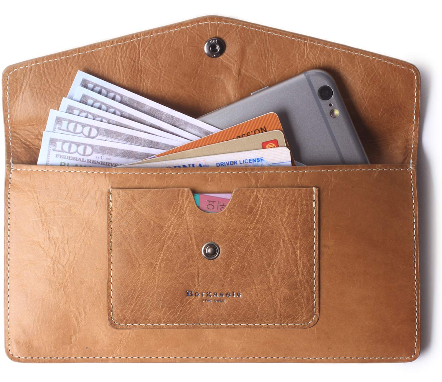2e0668bd8798 Borgasets Women's Wallet Leather RFID Blocking Ultra thin Envelope Ladies  Purse Travel Clutch with ID Card Holder and Phone Pocket Brown