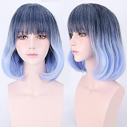 aukmla peluca pelo negro a azul Ombre Pelucas Fashion resistente al calor Cosplay de cabeza completa