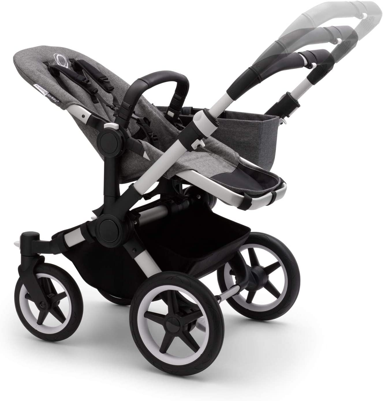 converts Single into Double Side by Side pram and Pushchair Bugaboo Donkey 3 Duo Extention Set Complete Foldable Lightweight Stroller with Black Sun Canopy and Black Chassis