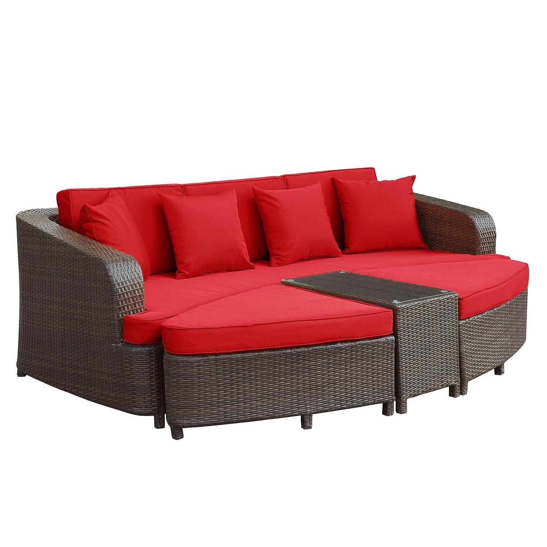 Amazon Com Modway Monterey Outdoor Wicker Rattan Sectional Sofa