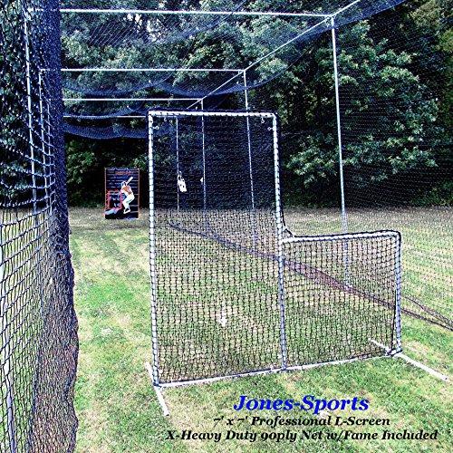 L-Screen 7' x 7' Professional Baseball Safety Frame & X-Heavy 90ply Net L Screen by Jones Sports