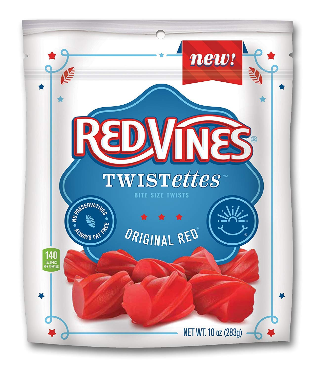 Red Vines Twistettes, Original Red Flavor, 10oz Bags (12 Pack), Soft & Chewy Candy Bites,