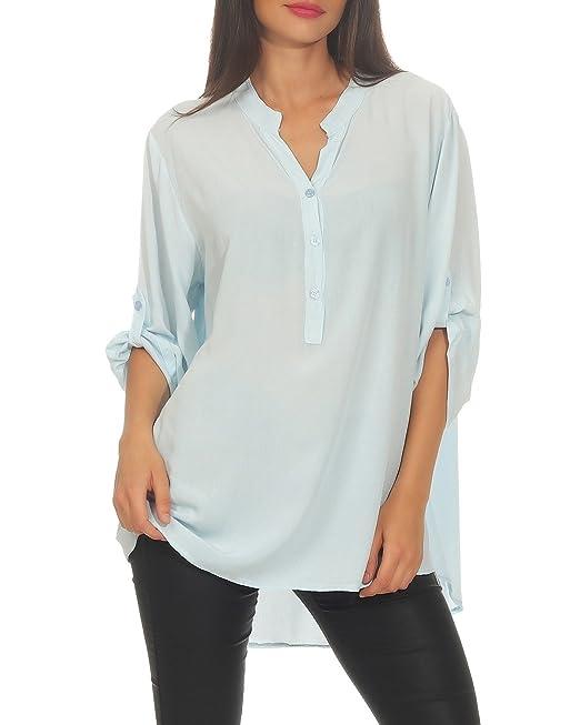 Zarmexx Blusa de Viscosa Holgada Blusa de la Camisa Manga 3/4 - Camisa de