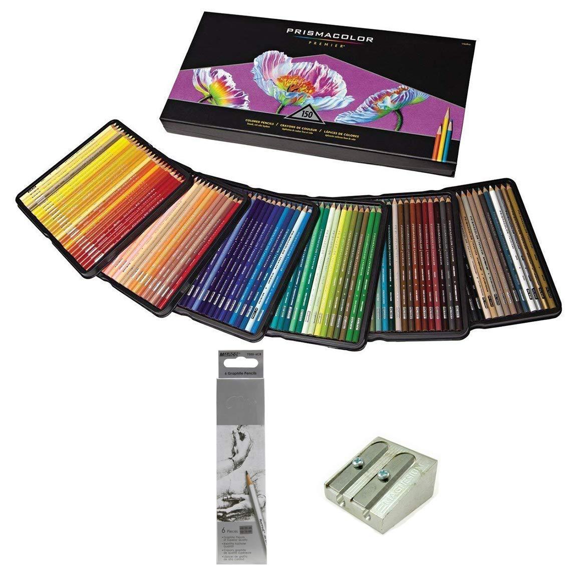 Prismacolor Colored Pencils Art Kit Gift Set – Artist Premier Wooden Soft Core Pencils 150 ct. Includes 6pc Raffine Artist Black Graphite Pencils, Reflexions Bound Sketch Book 8.5x11 inch & KUM 2 Hole Magnesium Sharpener [158 pc. Set]