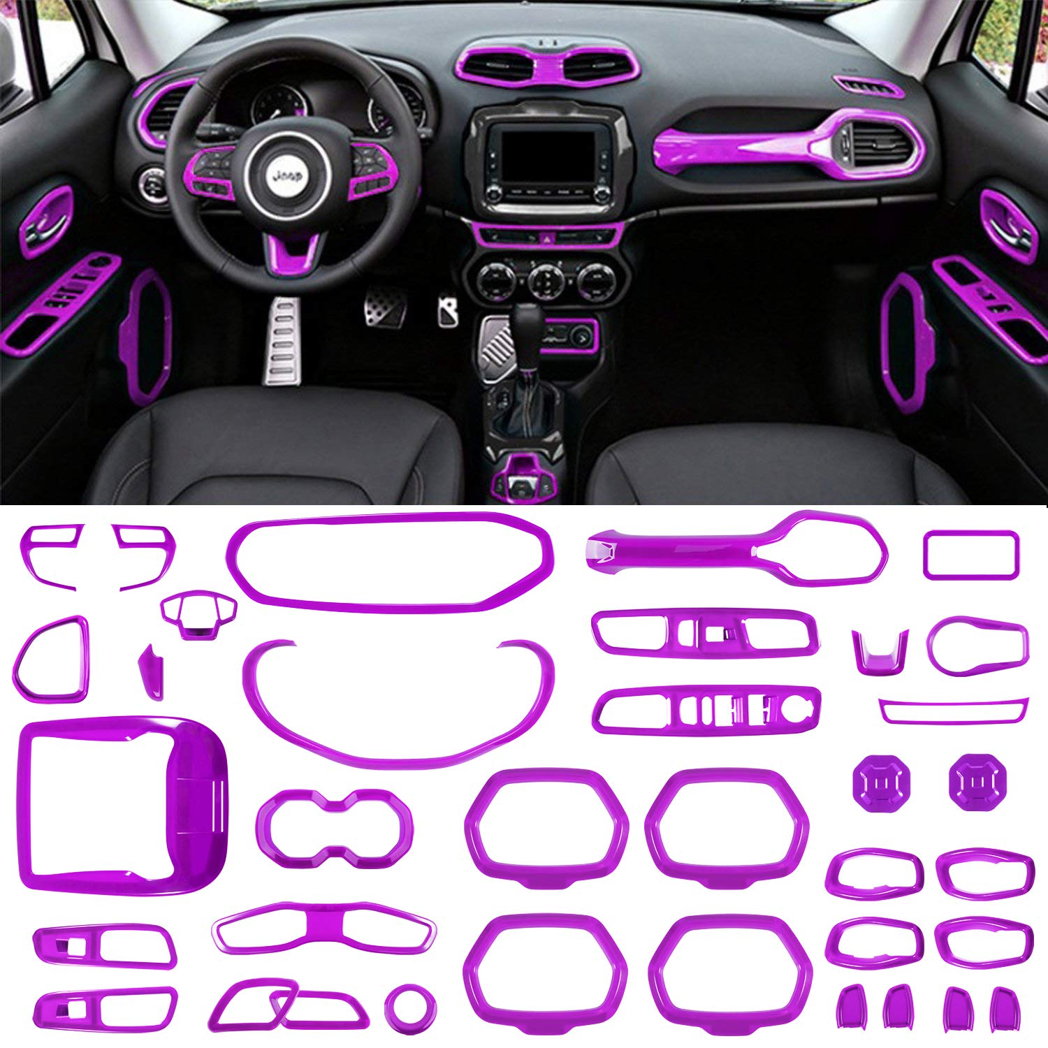 Danti 36Pcs Car Interior Accessories Decoration Cover Air Conditioning Vent & Door Speaker & Water Cup Holder & Headlight Switch & Window Lift Button Covers for Jeep Renegade 2015-2018 (Purple)