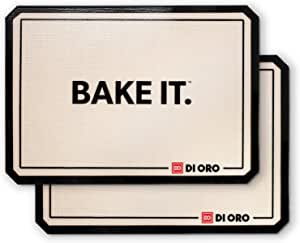 """DI ORO Pro-Grade Silicone Baking Mats - Nonstick Baking Pan Sheet Liners - 480°F Heat Resistant - 16 1/2"""" × 11 5/8"""" Half Sheet - Food Grade, BPA Free, LFGB Certified Silicone - Easy to Clean (2-PC)"""