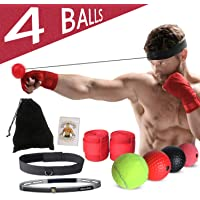DOTSOG Boxing Reflex Ball Set,4 Difficulty Level Boxing Balls On String with 2 Different Wide Headbands, Perfect for Training Hand-Eye Reaction,Boxing Training, Punching Speed and Fight Skill