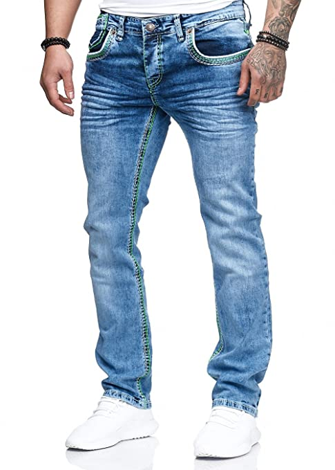 Herren Jeans Hose Washed Straight Cut Regular Stretch: Amazon.de: Bekleidung