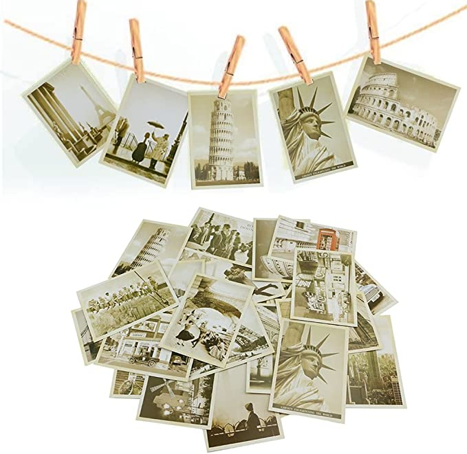 BronaGrand 32 PCS Retro Old Travel Postcards Vintage Landscape Photo Picture Poster Post Cards Greeting Cards for Worth Collecting 1 Set
