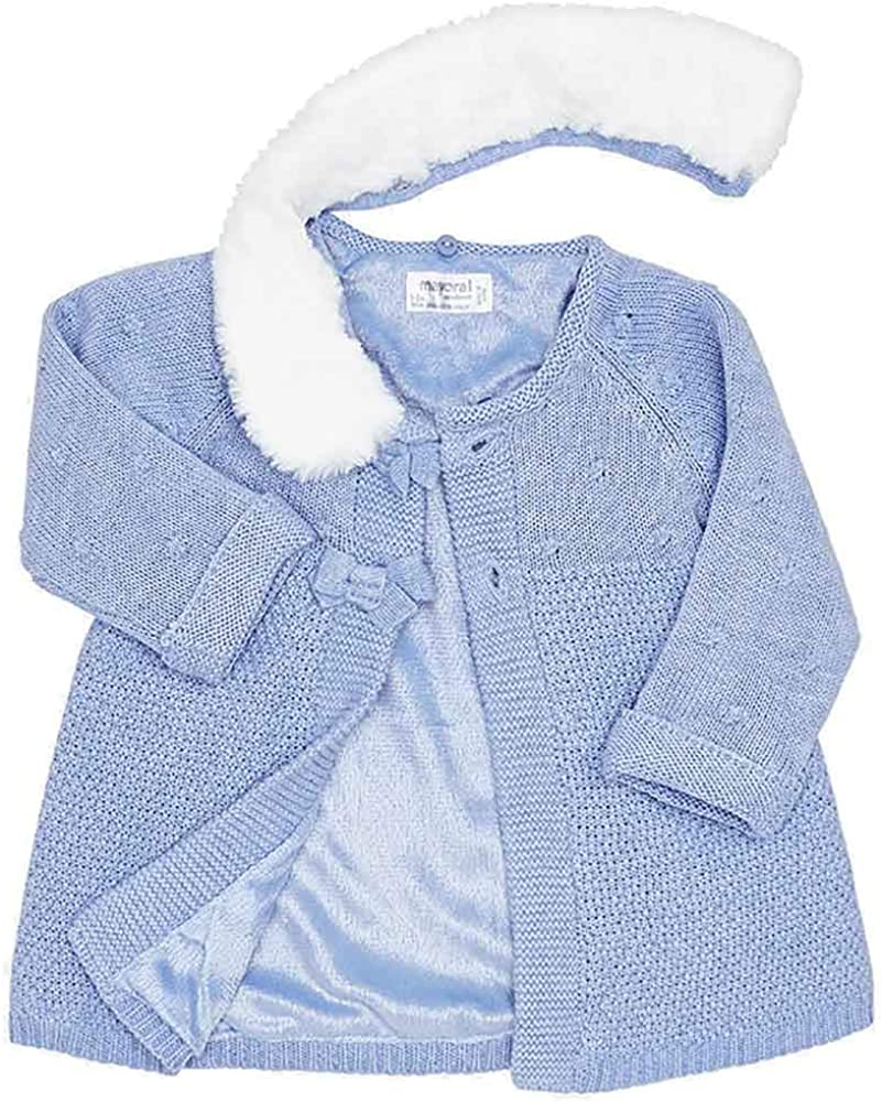 Mayoral Baby Girls Blue Knitted Coat with Detachable Fur Collar and Matching Bonnet