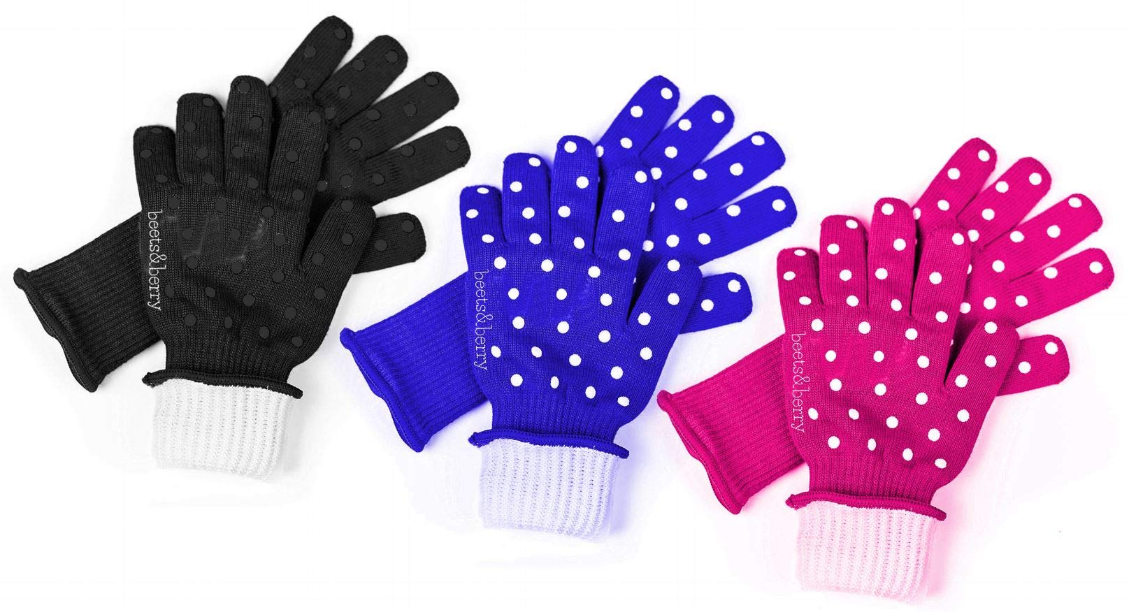 Beets & Berry Oven Gloves Heat Resistant Baking Gloves 1 Pair Oven Mitts Cut Resistant Cooking Gloves with Extra Long Sleeve & Silicone Non-Slip (Black, Blue & Pink) by Beets & Berry