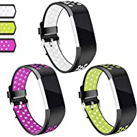 for Fitbit Charge 2 Bands, Hotodeal Replacement Wristbands Soft Silicone Accessory Strap for Fitbit Charge2 HR Tracker, Buckle, 12 Colors, Large Small
