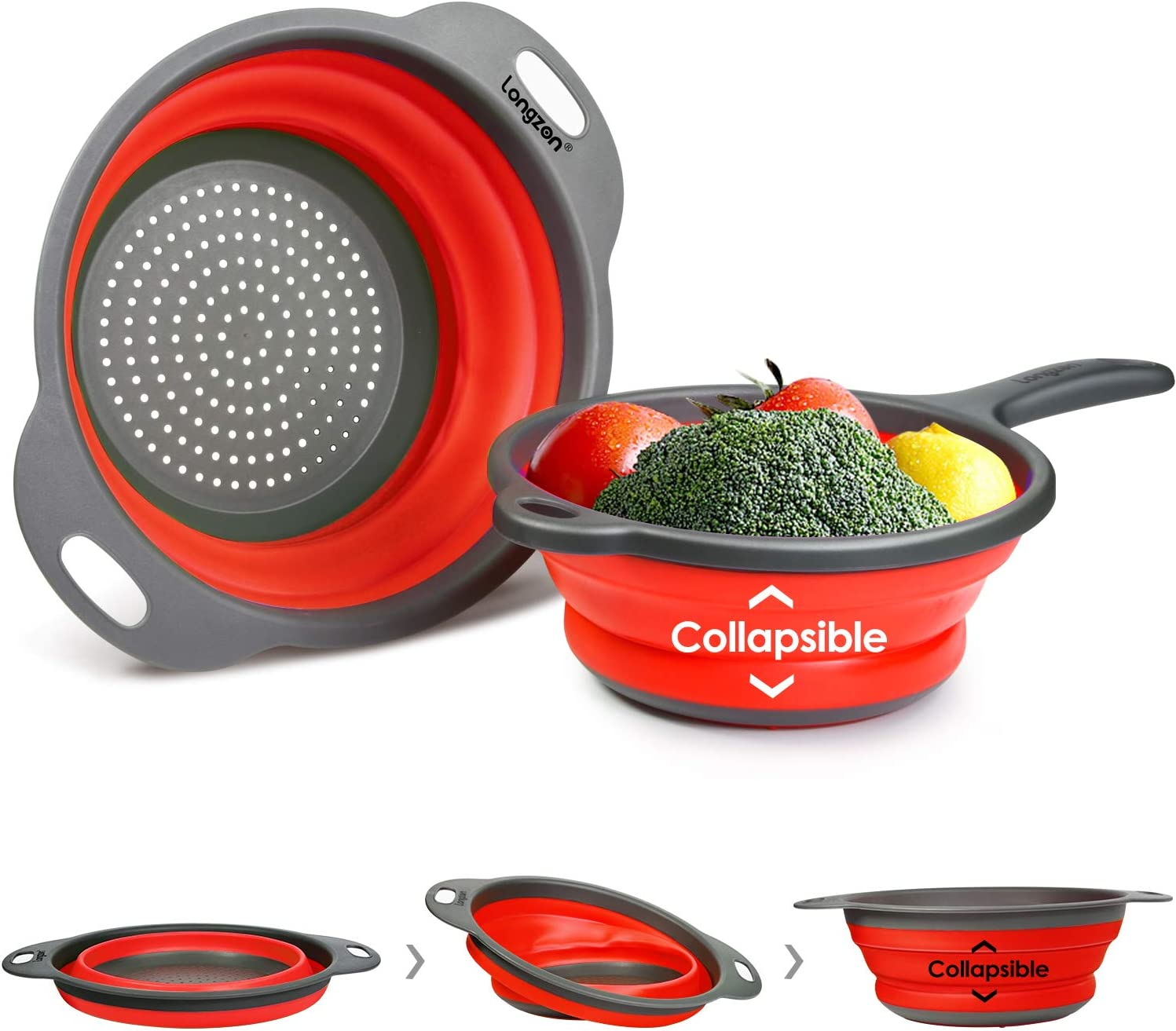 "Longzon 2 Collapsible Colander Strainer Set, Over the Sink Vegetable/Fruit Silicone Colanders Strainers with Extendable Handles 2 Quart and 9.5"" - 3 Quart Red and Grey"