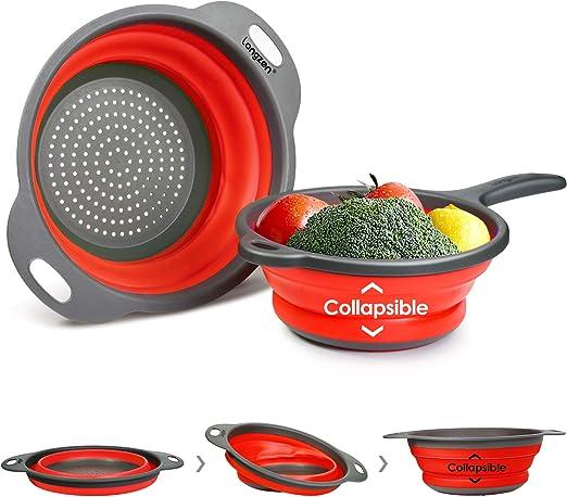 2 X 22 cm PLEGABLE PLEGABLE Colador de Cocina Colador con Oval almacenaje fácil