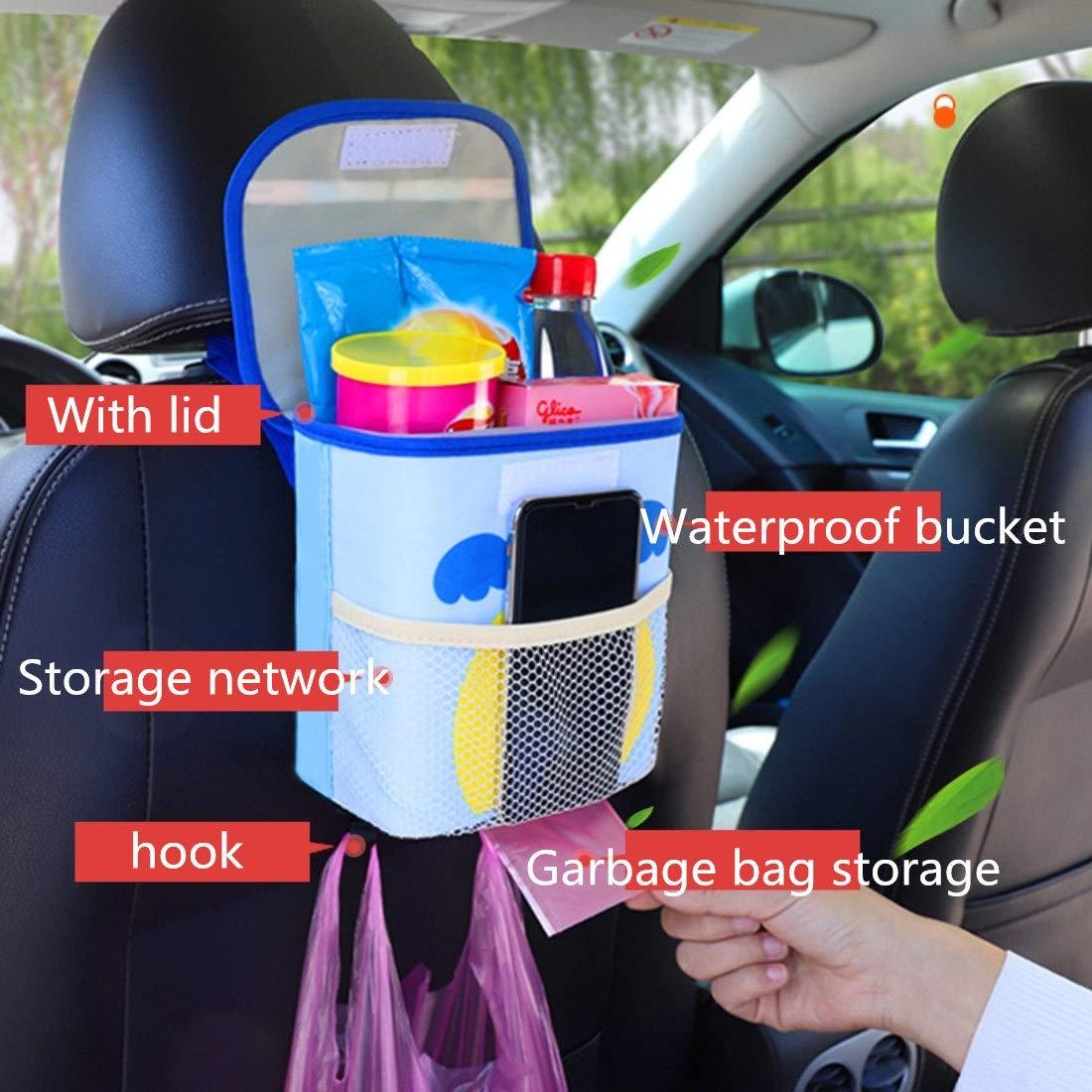 Color : Brown Souliyan Cartoon Pattern Car Trash Can Multi-Function Increase Waterproof Plastic Liner with Lid Garbage Bag Storage Storage Box