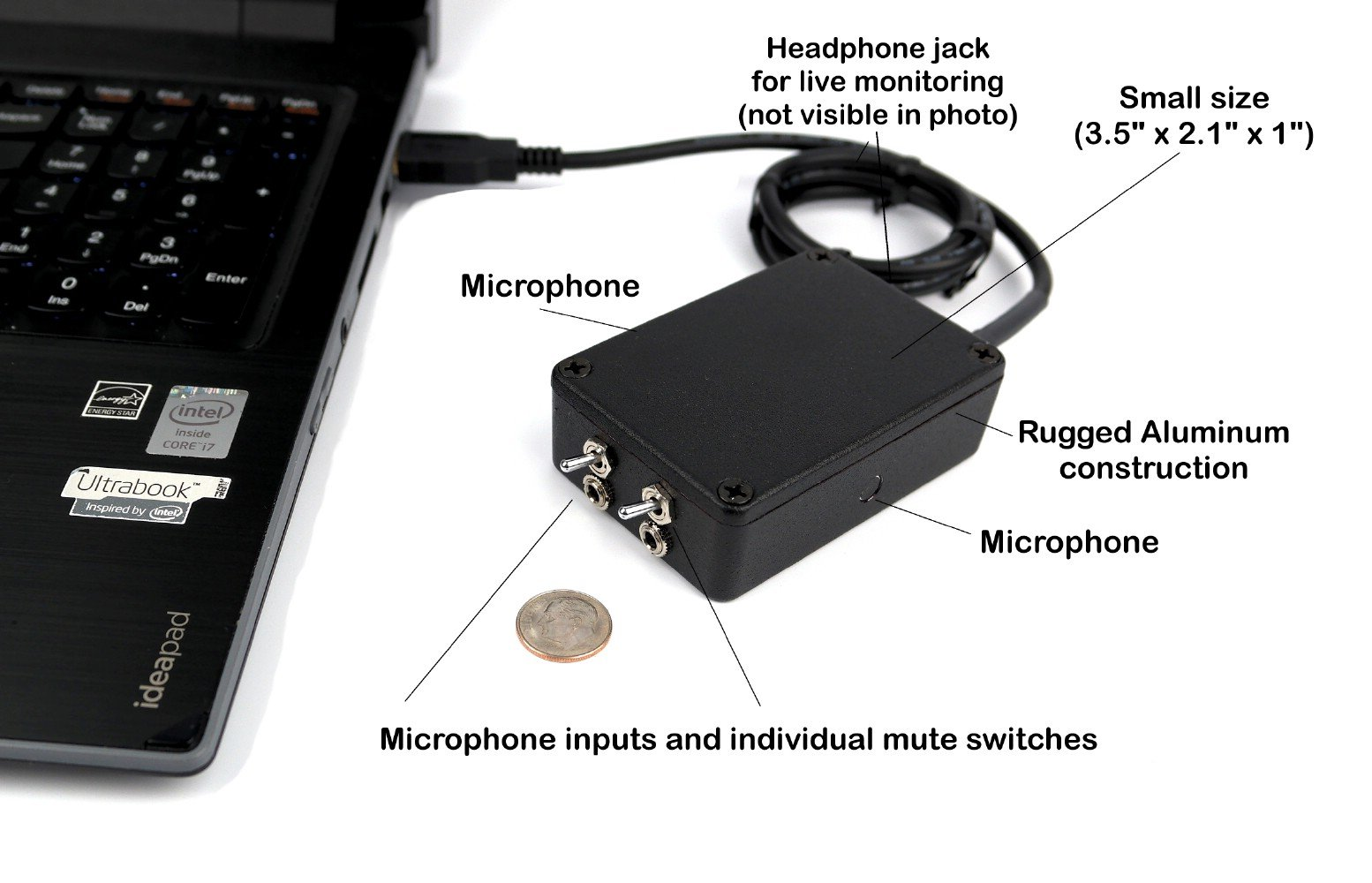 SP-USB-MIC-MODEL-10 - Sound Professionals - Ultra High Gain Mono/Stereo USB multiple microphone system and headphone amplifier w/advanced active room noise filters.