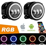 4 Inch CREE LED Fog Lights with RGB Halo for Jeep Wrangler JK JKU TJ LJ Edition Rubicon Sahara Unlimited Dodge Chrysler Cherokee Led Fog Lamps Front Bumper Lights Projector Angle Eye DRL