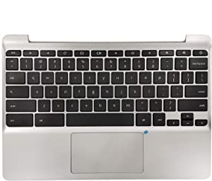 New 900818-001 Silver Palmrest US Keyboard and Touchpad Assembly Replacement for HP Chromebook 11 G5 11-V Series 855623-001