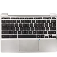 New 900818-001 Silver Palmrest US Keyboard and Touchpad Assembly Replacement for HP Chromebook 11 G5 11-V Series 855623…