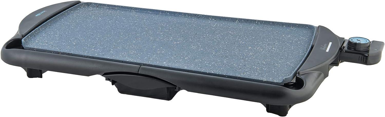 UNIVERSALBLUE - Plancha de Asar - Bandeja Recogegrasa - Potencia 2000W - Termostato Regulable - Placa con Revestimiento