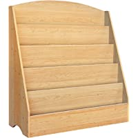 Kids Bookcase, Keezi 5-Tier Wooden Kids Bookshelf Magazines Display Rack Stand - Natural