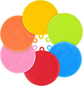 Emoly Silicone Dish Sponges - 6 Pack Food Grade Reusable Sponges for Dishes, Heat Resistant and Without Bpa,Double Sided Silicon Brush, 6 Colors