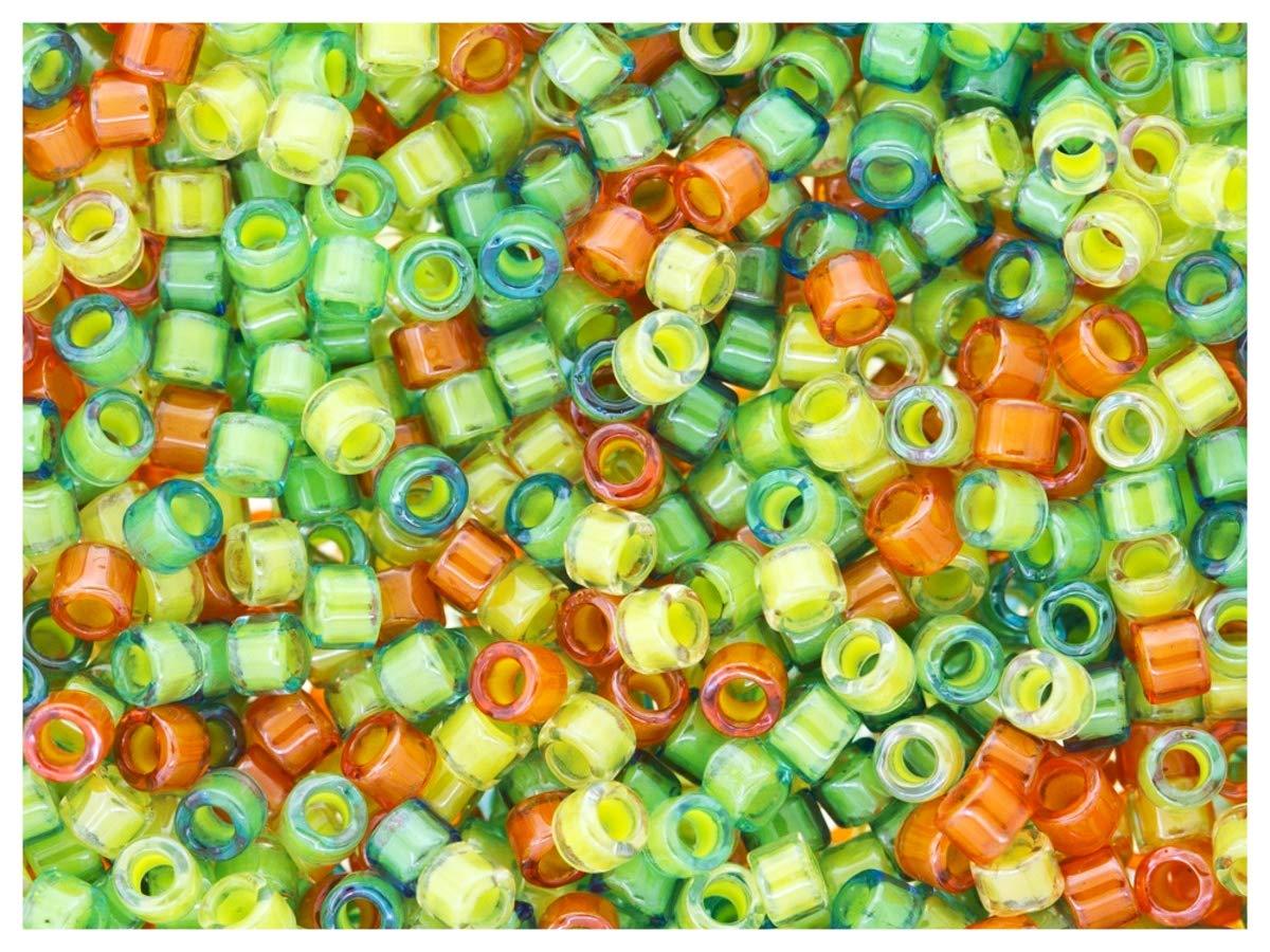 10gr 11//0 Delica/® Miyuki/® Luminous Mix 6 Transparent Crystal//Inside Luminous Delightfully Citrus Mix Perle di Vetro cilindriche Giapponesi con Diametro di 1.6 mm e Foro da o.8 mm