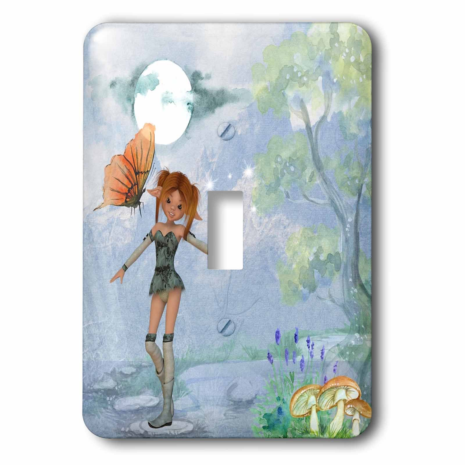 3dRose Fairies And Fantasy - Image of Fantasy Girl In Watercolor Woods With Full Moon - Light Switch Covers - single toggle switch (lsp_281583_1)