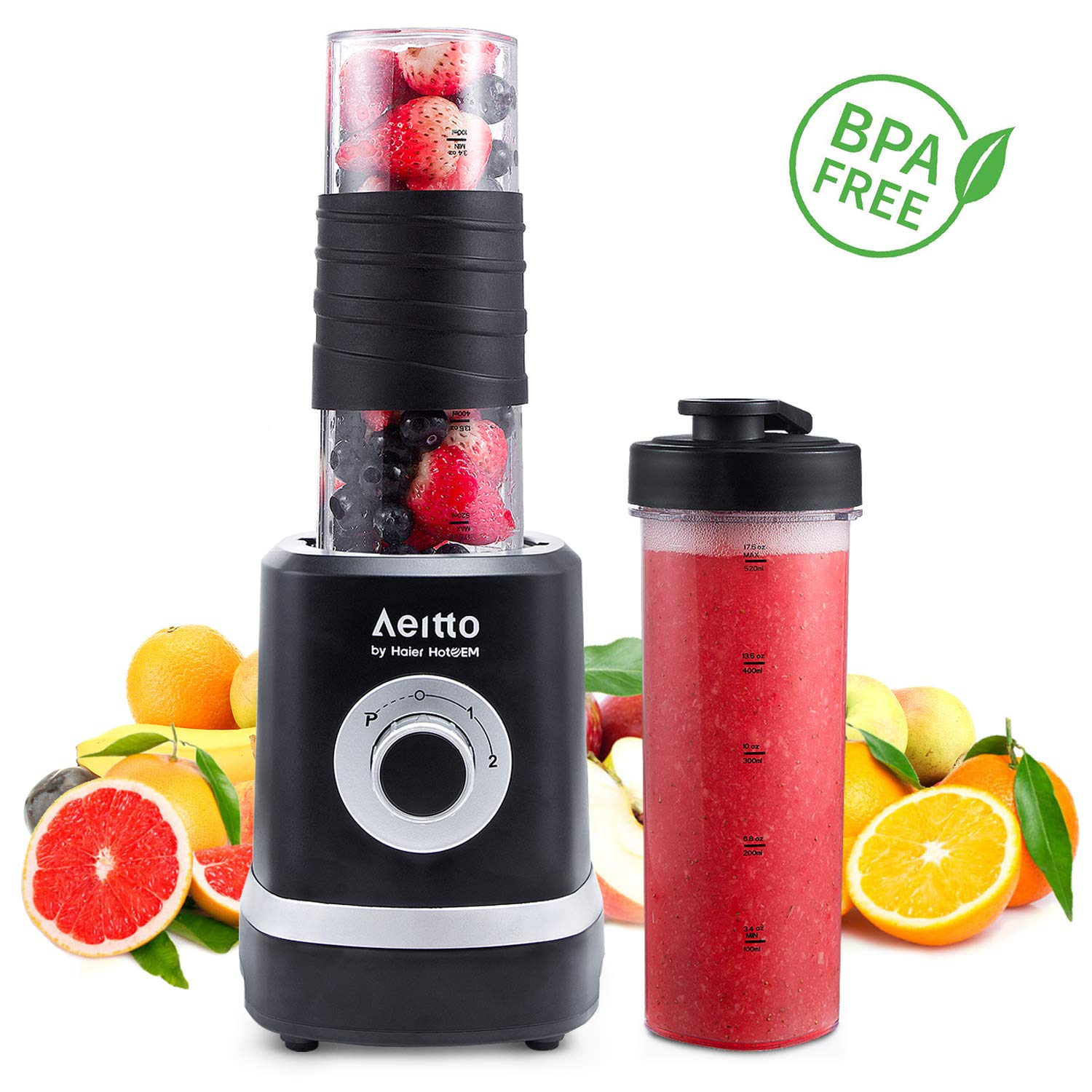 Personal Blender, Portable Smoothies Blender Single Serve Small Mixer Maker for Shakes Frozen Fruit Juice Baby Food with 2 BPA-Free Tritan Bottles, 18oz 350W, by Aeitto by Aeitto