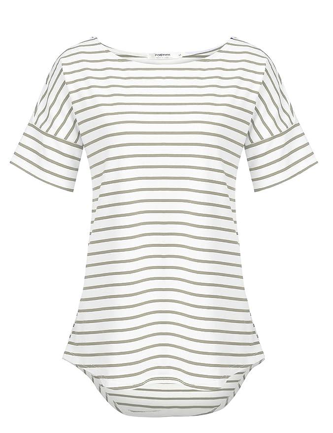 POGTMM Women's Casual Raglan Short Sleeve Patchwork Striped Cotton Shirts Loose T-Shirt Tunic Tops (Charcoal Grey, US XL(16-18))