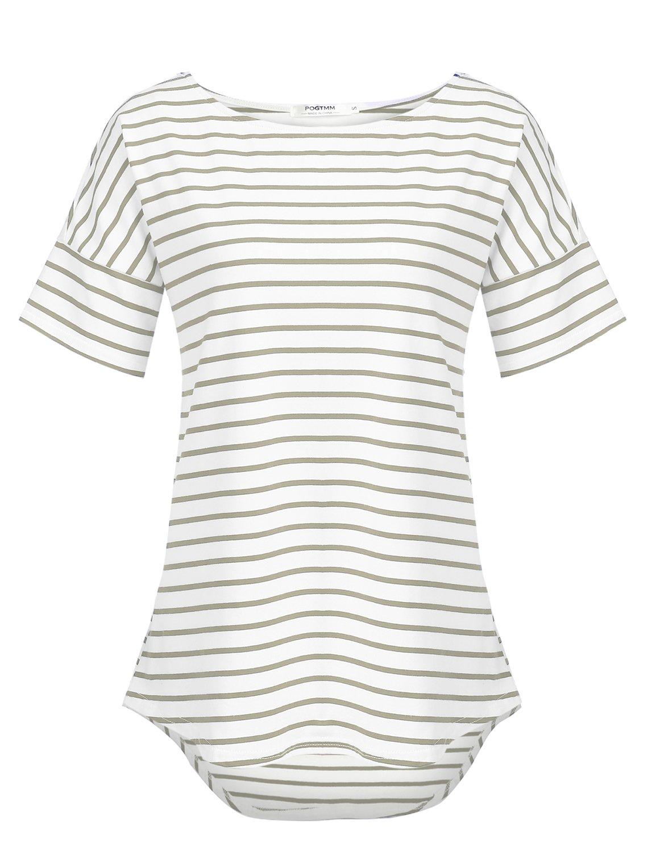 POGTMM Women's Casual Raglan Short Sleeve Patchwork Striped Cotton Shirts Loose T-Shirt Tunic Tops (Gray&White, US XL(16-18))