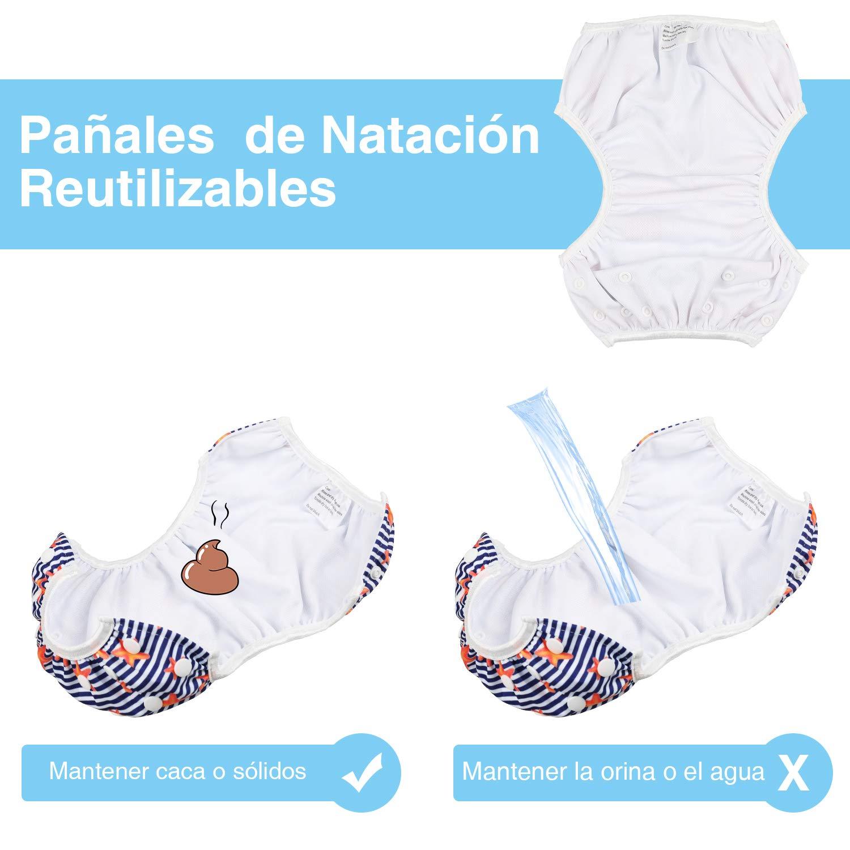 Lictin 2 Pcs Pa/ñales Reutilizables de Nataci/ón Azul ninas Pa/ñales de Nataci/ón Ajustables Para Beb/és de 0 a 3 A/ños