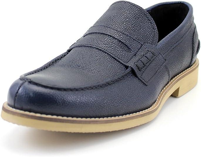 TALLA 45 EU. GIORGIO REA Zapatos para Hombre Hechos a Mano EN Italia Mocasines Cómodo, Casual, de Moda, de Color Azul Oscuro