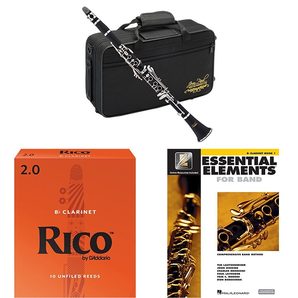 Jean Paul USA CL-300 Student Clarinet with Rico Bb Reeds Strength 2.0 (10 pack) and Book