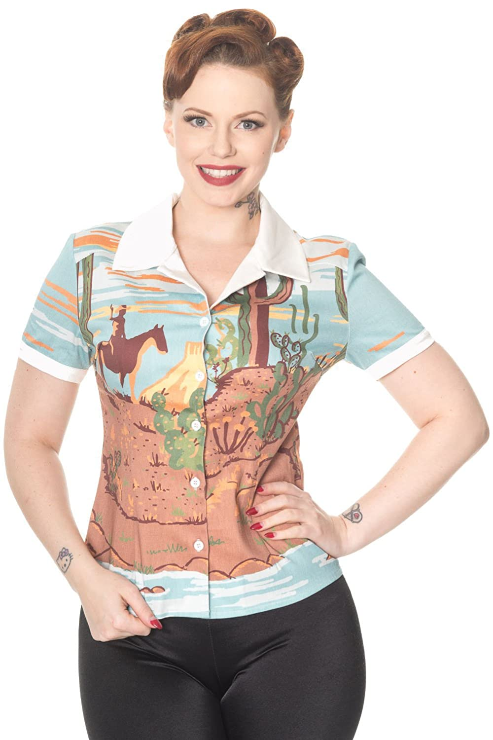 1950s Rockabilly & Pinup Tops, Shirts, Blouses Banned Magical Day Vintage Retro Blouse £27.99 AT vintagedancer.com