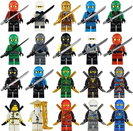 Maykid 20 Ninja Minifigures with Ninja Accessoies, Building Bricks Ninja Figures, Building Party Toys Gift