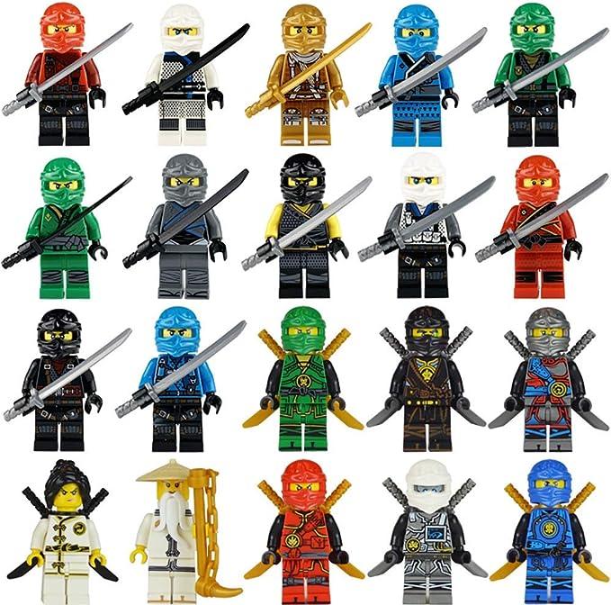 Maykid 20 Ninja Minifigures with Ninja Accessoies, Building Bricks Ninja Figures