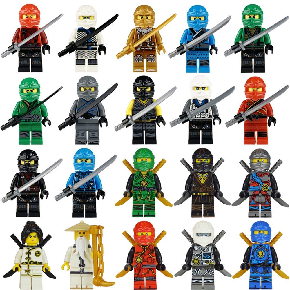 Flash Chicken 20 Ninja Minifigures with Ninja Accessoies Building Bricks Ninja Figures
