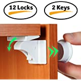 Baby Proofing Magnetic Cabinet & Drawers Locks for Child Safety -12 Latches & 2 Keys - by BabyTrust