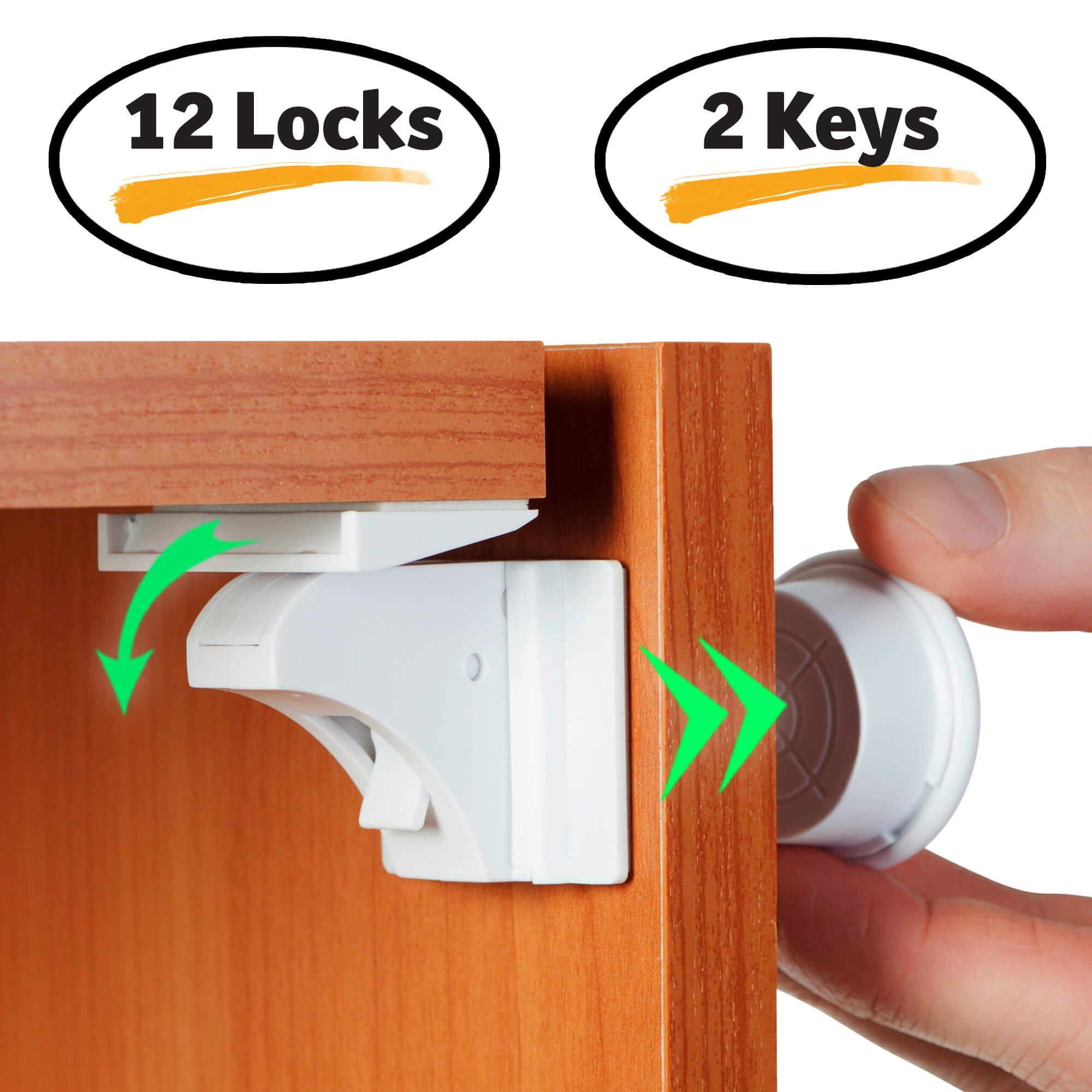 baby proofing magnetic cabinet lock set child safety locks kids toddler hidden 689213048780 ebay. Black Bedroom Furniture Sets. Home Design Ideas