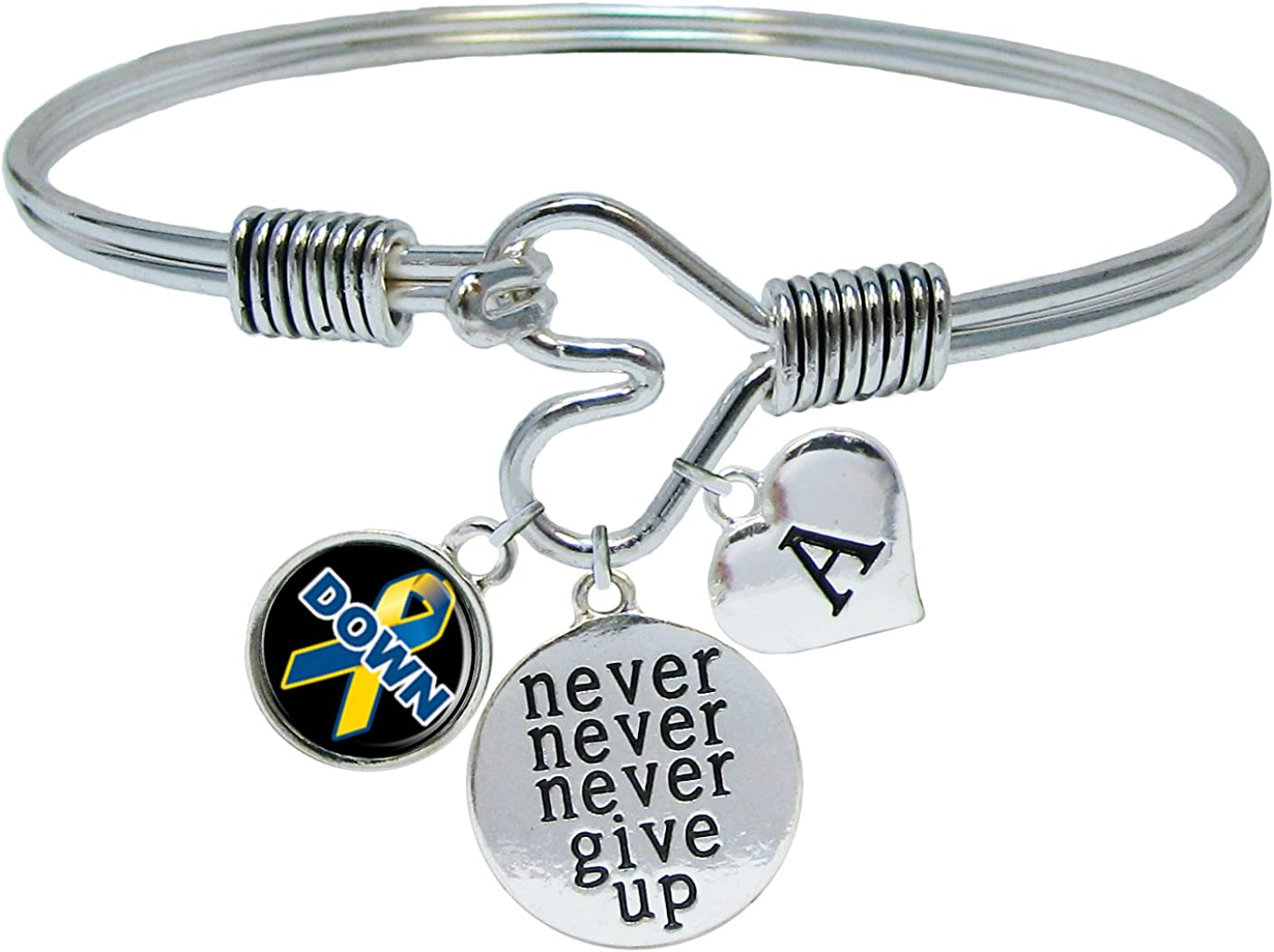 Sports Accessory Store Custom Down Syndrome Awareness Never Give Up Bracelet Choose Initial