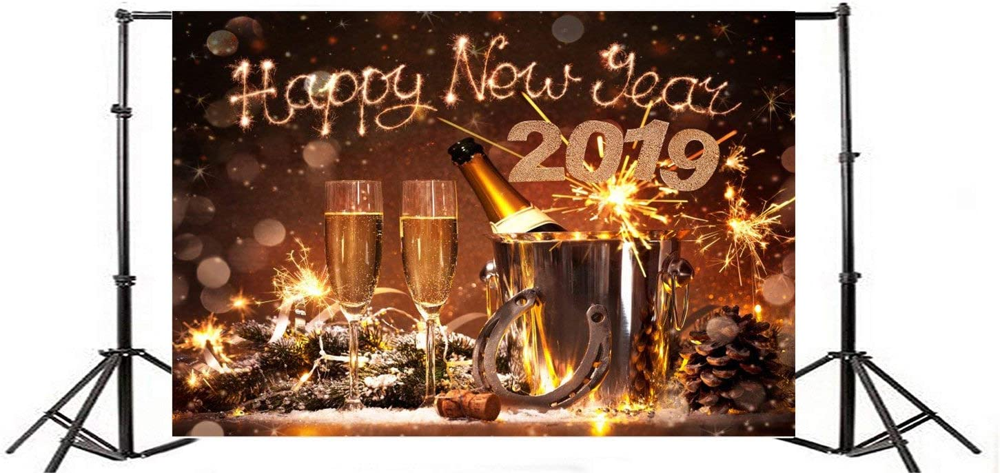 GoEoo 6x4ft Happy New Year 2019 Background Champagne Fireworks Celebrate Lucky Clevis Backdrop Old Horseshoe Fortune Success Holiday Party Decoration Business Commerce Photo Studio Props Vinyl Banner